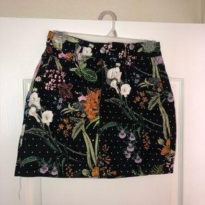 Topshop Floral Crystal Denim Skirt